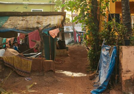 The streets of old Arambol. India, Northern GOA, Arambol. Stock Photo