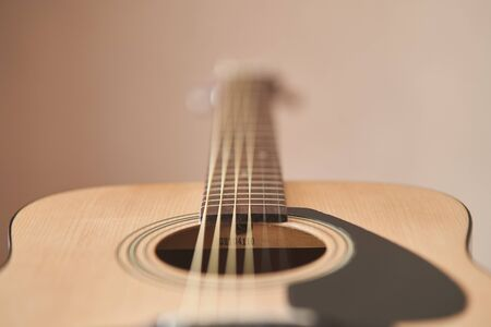 The Guitar deck. Acoustic guitar. Musical instrument. Fretboard acoustic guitar