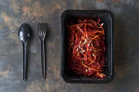 Dietary Salad with Beets and Carrots. Healthy diet. Diet for weight loss.
