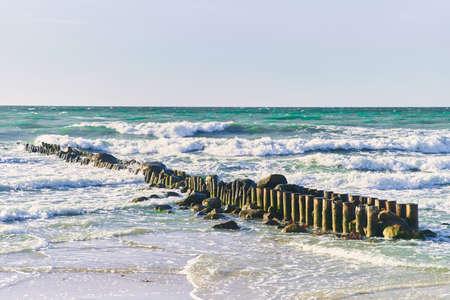 Breakwater on the Baltic Sea. Zelenogradsk city, Kaliningrad region.