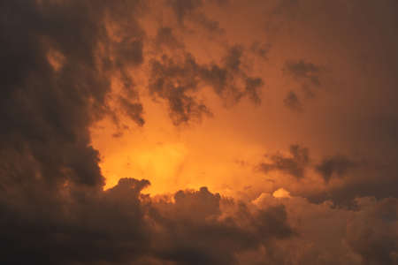 Beautiful red clouds in the sky. Beautiful summer sunset