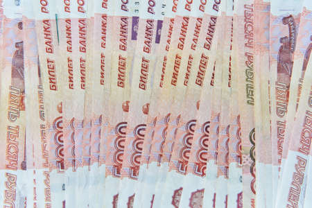 Close-up of Russian rubles on five thousand and one thousand banknotes. 写真素材