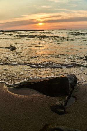 Sunset on the baltic sea. Zelenogradsk, Kaliningrad region.