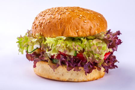 Fresh tasty burger isolated Stock Photo