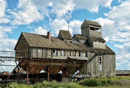siberia: The old grain dryer in Siberia in the summer