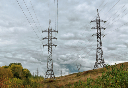transmission line: The power transmission line at the dam in the fall Stock Photo
