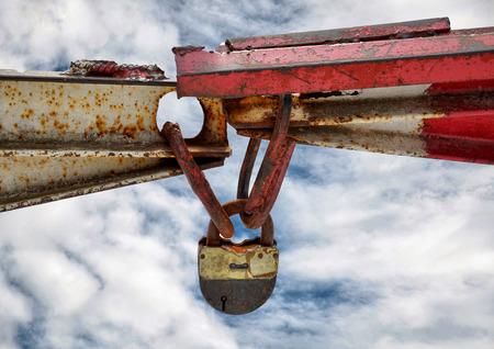 lugs: Old rusty padlock on the sky background Stock Photo