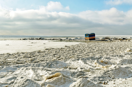 polar climate: A lone tent on the frozen sea Stock Photo