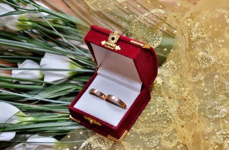 oneness: Two wedding rings in the box - wedding ceremony Stock Photo