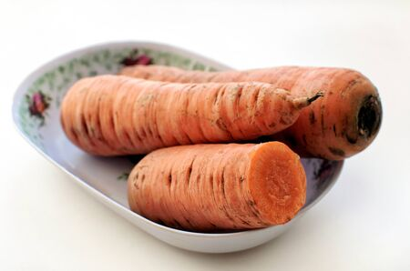 the oblong: Fresh carrots into oblong plate - side view