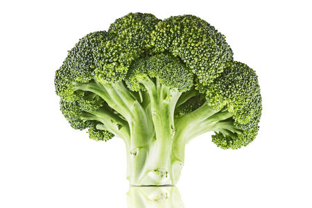 cruciferous: Single broccoli floret isolated on white. Clipping path included Stock Photo