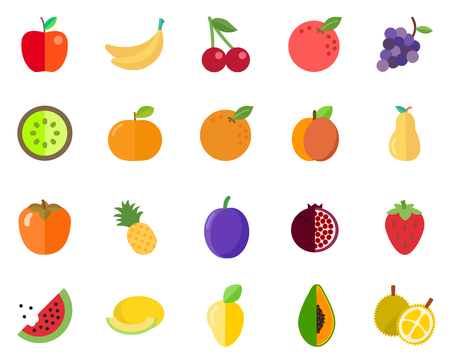Standard fruit icon pack on white background, vector illustration.