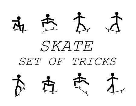Set of tricks skateboard Ilustração