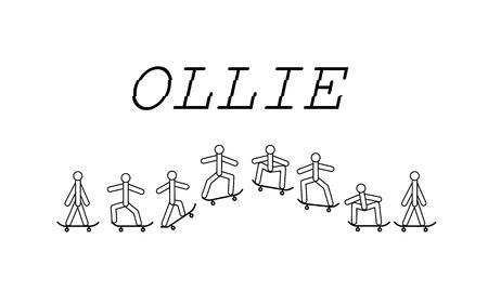 Ollie skateboard  イラスト・ベクター素材