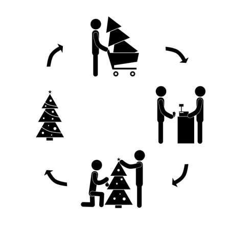 Christmas tree decoration vector illustration. Illustration