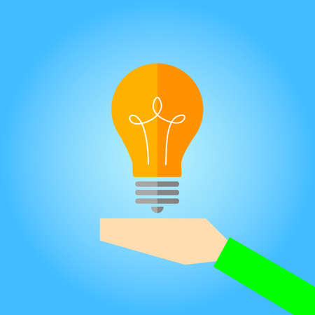 bulb in hand vector icon
