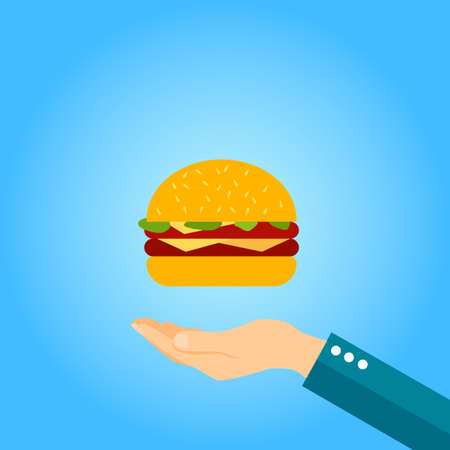 burger in hand vector icon