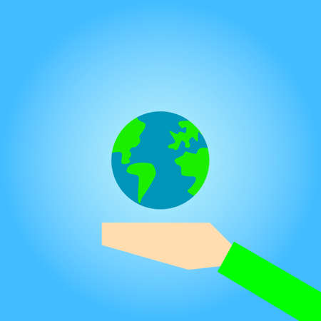earth in hand vector icon Illustration