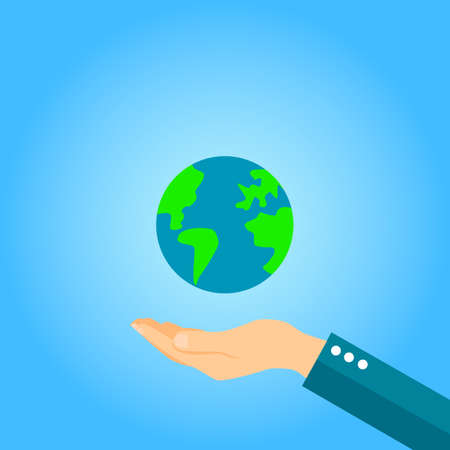 Earth in hand vector icon