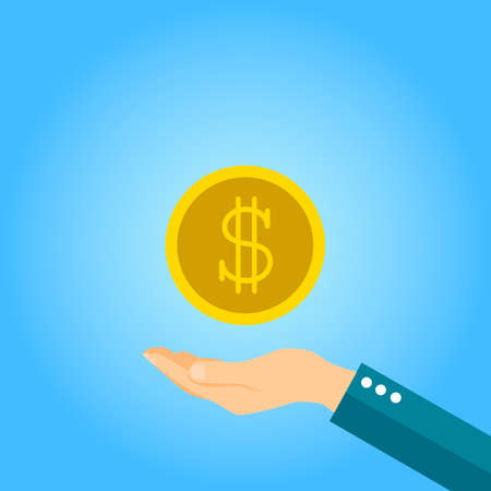 coin in hand vector icon