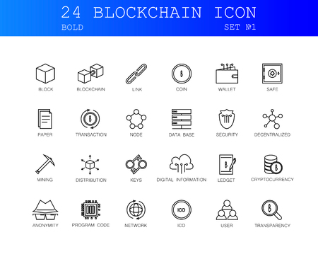 Bold Line icons set. Block-chain pack. Vector illustration. Vector illustration with elements for crypto technology.