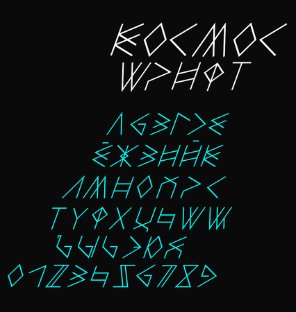 Russian italic space font Illustration