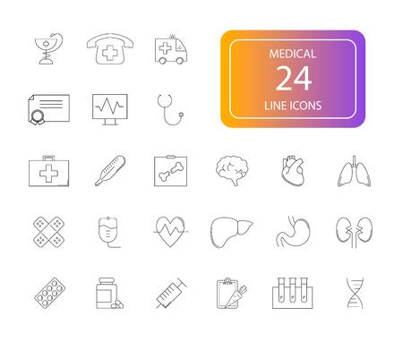 Line icons set. Medical pack. Vector illustration Çizim