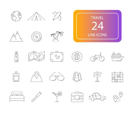 Line icons set. Travel pack. Vector illustration