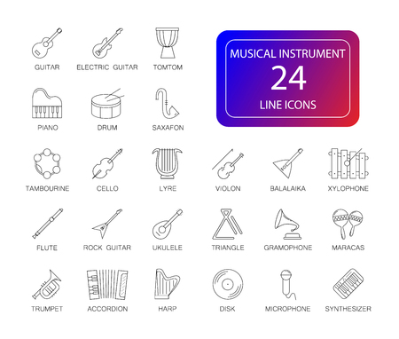 Line icons set. Musical instrument pack. Vector illustration