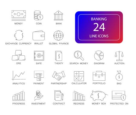 Line icons set. Banking pack. Vector illustration Illustration