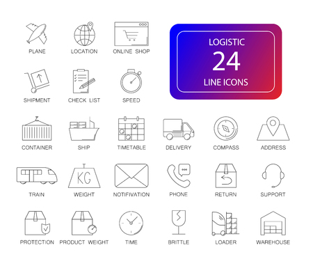 Line icons set. Logistic pack. Vector illustration