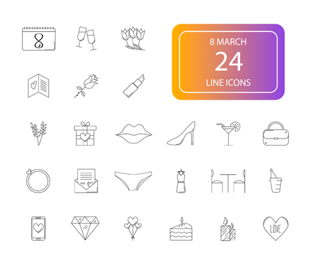 Line icons set. 8 March, Woman Day pack. Vector illustration