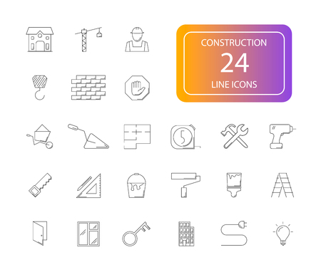 Line icons set. Construction pack vector illustration.