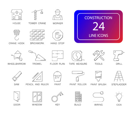 Line icons set. Construction pack. Vector illustration