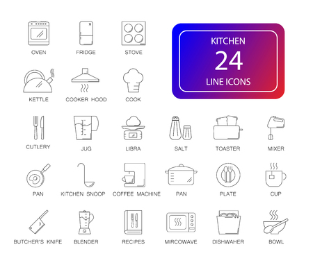 Line icons set of kitchen pack vector illustration.