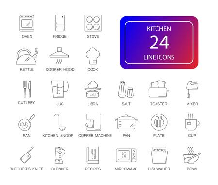 Line icons set of kitchen pack vector illustration.