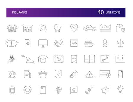 Line icons set. Insurance pack. Vector illustration
