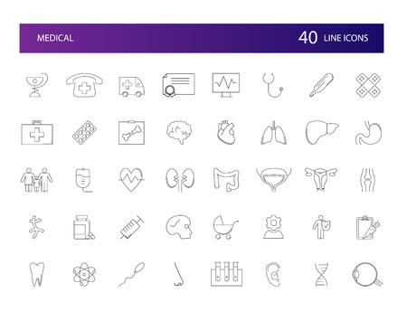 Line icons set. Medical pack. Vector illustration Illustration