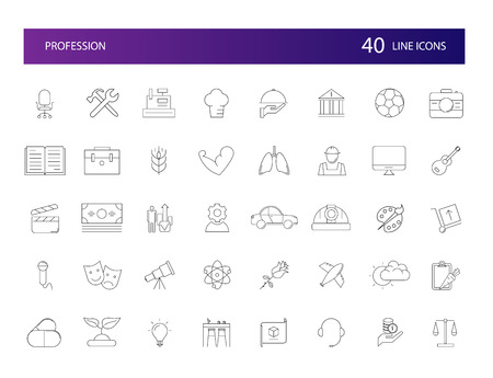 Line icons set. Profession pack. Vector illustration Illustration