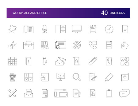 Line icons set. Workplace and Office pack. Vector illustration Vectores