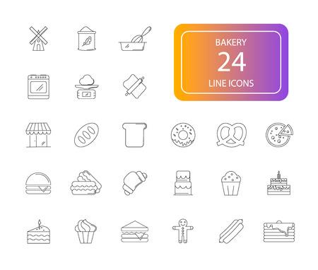 Line icons set. Bakery pack. Vector illustration.