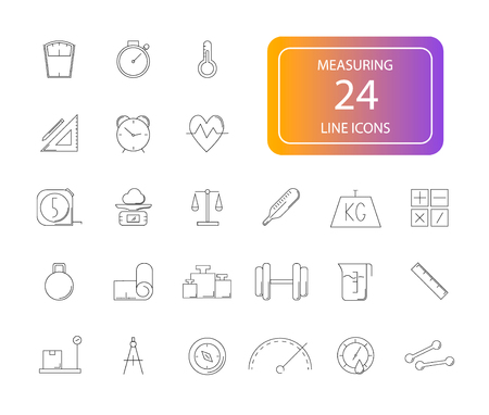 Line icons set. Measuring pack  Vector illustration Stock Illustratie
