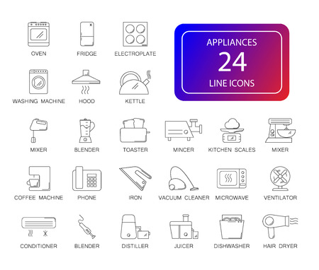 Line icons set. Appliances pack. Vector illustration