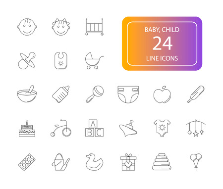 Line icons set. Baby pack. Vector illustration Ilustracja
