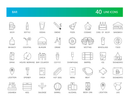 Line icons set. Bar pack. Vector illustration Stock Illustratie