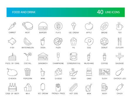 icônes de la ligne fixés. alimentaire et boissons boissons illustration vectorielle