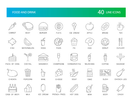Line icons set. Food and Drink pack. Vector illustration Imagens - 97530091