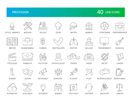 Line icons set. Proffesion pack. Vector Illustration Illustration