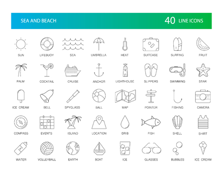 Line icons set. Sea and Beach pack. Vector illustration