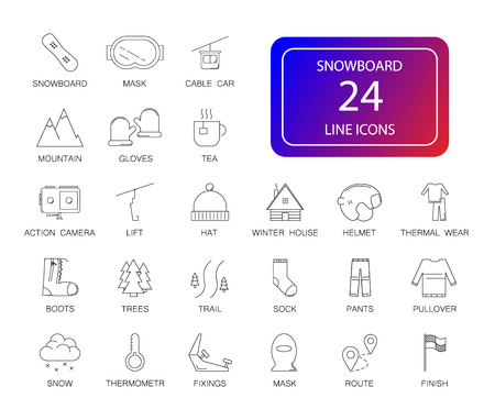 Line icons set. Snowboard pack. Vector illustration